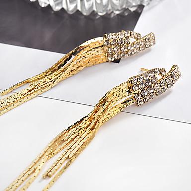 cheap Earrings-Women's Cubic Zirconia Drop Earrings Long Spike Ladies Luxury Fashion Rhinestone Earrings Jewelry Gold / Black For Party Party / Evening 1 Pair