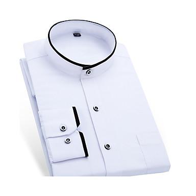 رخيصةأون قمصان رجالي-رجالي عمل الأعمال التجارية / أساسي قطن قميص, لون سادة رقبة طوقية مرتفعة / كم قصير / كم طويل