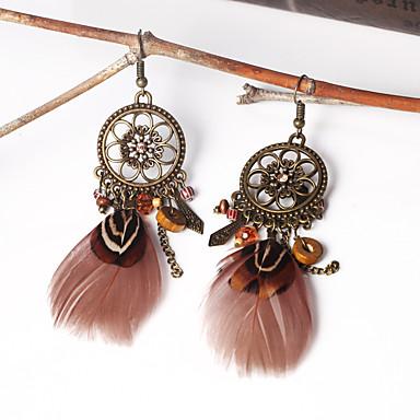 Žene Viseće naušnice Perje dame Vintage Etnikai Boho Američki domorodac Perje Naušnice Jewelry Kava Za Svečanost Karneval 1 par