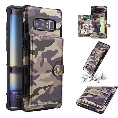 voordelige Galaxy Note-serie hoesjes / covers-hoesje Voor Samsung Galaxy Note 9 / Note 8 Portemonnee / Kaarthouder / Schokbestendig Achterkant Camouflage Kleur Zacht PU-nahka