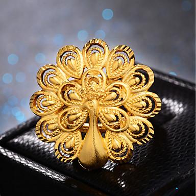 Žene Prsten Prilagodljivi prsten 1pc Zlato Pozlaćeni dame Luksuz Hiperbola Vjenčanje Dar Jewelry Klasičan Paun Slatko