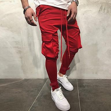 Muškarci Aktivan Dnevno Chinos / Cargo hlače Hlače - Jednobojni Proljeće Jesen Red Tamno siva Vojska Green XL XXL XXXL