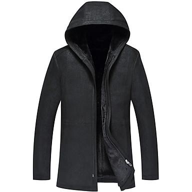 povoljno Men's Winter Coats-Muškarci Dnevno Dug Krzneni kaput, Jednobojni S kapuljačom Dugih rukava Jagnjeća koža Crn