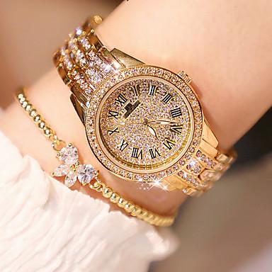 Žene Luxury Watches Ručni satovi s mehanizmom za navijanje Diamond Watch Japanski Kvarc Nehrđajući čelik Srebro / Zlatna / Rose Gold 30 m New Design imitacija Diamond Analog dame Luksuz Elegantno -