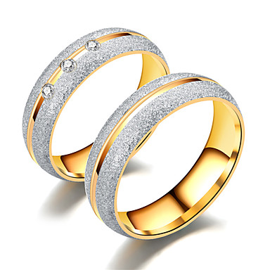 Par je Prsten Prstenovi za utore Kubični Zirconia 1pc Zlato Obala Titanium Steel nehrđajući Imitacija dijamanta Cirkularno dame Jednostavan Luksuz Vjenčanje Dar Jewelry odgovarajući Njegova i Njezina