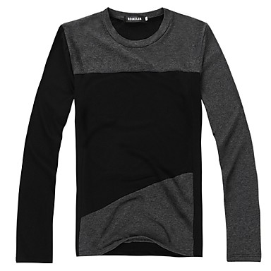 Majica s rukavima Muškarci - Osnovni / Ulični šik Dnevno / Vikend Color block Okrugli izrez Slim Crn / Dugih rukava