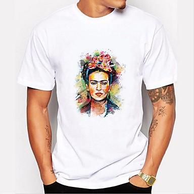 Majica s rukavima Muškarci - Osnovni Dnevno / Vikend Pamuk Portret Okrugli izrez Print Crno-bijela Obala / Kratkih rukava