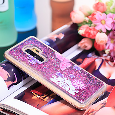 Θήκη Za Samsung Galaxy S9 Plus Otporno na trešnju / Šljokice Stražnja maska Rukav leptir / Šljokice Mekano TPU