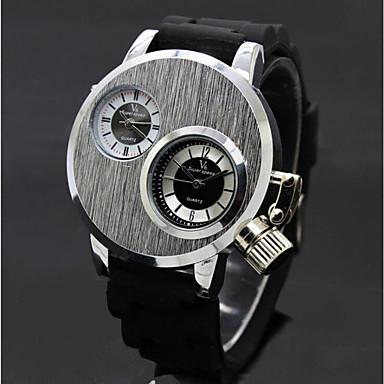 رخيصةأون ساعات الرجال-V6 رجالي ساعة المعصم كوارتز مطاط أسود ساعة كاجوال مماثل كاجوال موضة - أسود فضي