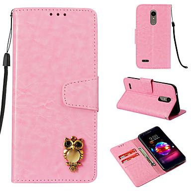 رخيصةأون LG أغطية / كفرات-غطاء من أجل LG LG K10 2018 محفظة / حامل البطاقات / قلب غطاء كامل للجسم خطوط / أمواج قاسي جلد PU
