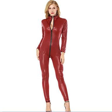 cheap Dancewear & Shoes-Exotic Dancewear Nightclub Jumpsuits / Pole Dance Women's Training / Performance PU Full Length Visible Zipper Long Sleeve Leotard / Onesie