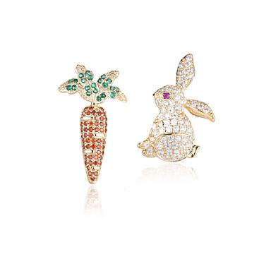 neprilagođeno Naušnica - Zircon, S925 Sterling Silver Rabbit Europska, Moda, Pastoral Style Zlato / Pink Za Party Dnevno Žene / 1 par