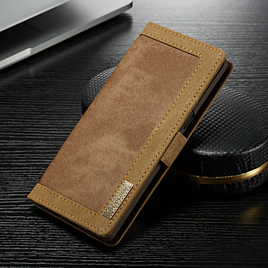 voordelige Galaxy Note-serie hoesjes / covers-hoesje Voor Samsung Galaxy Note 9 Portemonnee / Kaarthouder / met standaard Volledig hoesje Effen Hard tekstiili