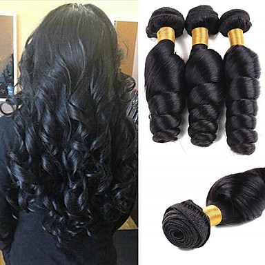 3 paketa Valovita kosa Ljudska kosa Netretirana  ljudske kose Wig Accessories Headpiece Ljudske kose plete 8-28 inch Prirodna boja Isprepliće ljudske kose Svilenkast Jednostavan dressing Sexy Lady