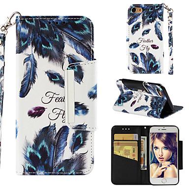 voordelige iPhone-hoesjes-hoesje Voor Apple iPhone 7 Portemonnee / Kaarthouder / Flip Achterkant Veren Hard PU-nahka
