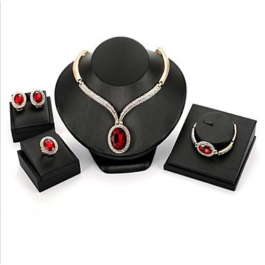 Žene Crvena Kubični Zirconia Svadbeni nakit Setovi Klasičan Kruška dame Moda Pozlaćeni Naušnice Jewelry Crvena Za Vjenčanje Party 1set