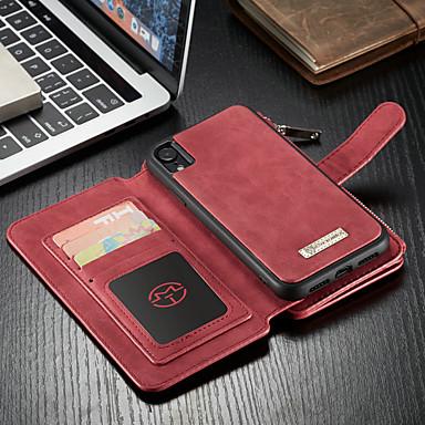 voordelige iPhone-hoesjes-hoesje Voor Apple iPhone XR Portemonnee / Kaarthouder / met standaard Volledig hoesje Effen Hard PU-nahka
