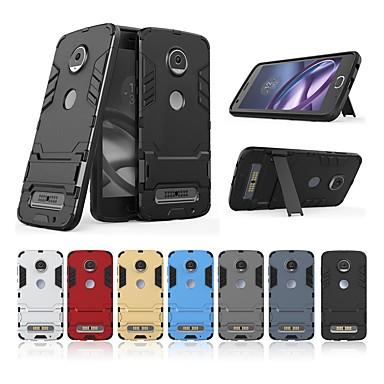 Недорогие Чехлы и кейсы для Motorola-Кейс для Назначение Motorola Moto Z2 play Защита от удара / со стендом Кейс на заднюю панель Однотонный / броня Твердый ПК