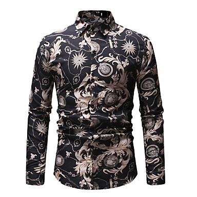 Majica Muškarci - Osnovni Dnevno Pamuk Cvjetni print / Color block Print Crn / Dugih rukava
