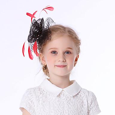Elizabeta Čudesna gđa. Maisel Djevojčice Dječji Retro / vintage Feather Net Hat Fascinator Hat Trake za kosu Hair Clip Crn Cvijet Til Šeširi Lolita Pribor