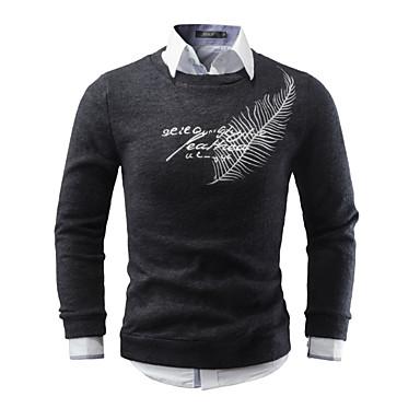 Muškarci Dnevno Osnovni Geometrijski oblici / Jednobojni Dugih rukava Regularna Pullover Džemper od džempera, Okrugli izrez Jesen Crn / Tamno siva / Bež S / M / L