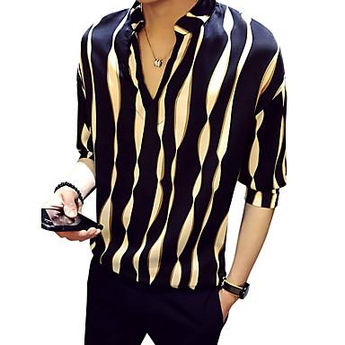رخيصةأون قمصان رجالي-رجالي مناسب للحفلات / نادي قميص, مخطط رقبة طوقية مرتفعة / الربيع / الصيف