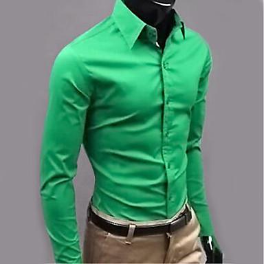 رخيصةأون قمصان رجالي-رجالي عمل الأعمال التجارية / أساسي قميص, لون سادة ياقة كلاسيكية / كم طويل