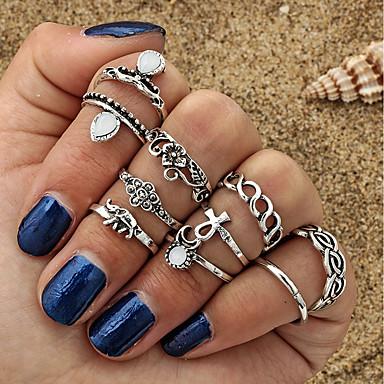 Žene Prstenasti set Midi prstenje Prstenovi koji se mogu slagati Kubični Zirconia 10pcs Zlato Srebro Legura dame Mértani Osnovni Dnevno Spoj Jewelry Slon Cvijet Slatko