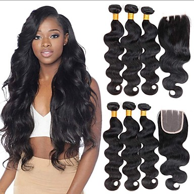 3 paketi s zatvaranjem Peruanska kosa Tijelo Wave Virgin kosa Netretirana  ljudske kose Ljudske kose plete Bundle kose Jedan Pack Solution 8-20 inch Prirodna boja Isprepliće ljudske kose Sexy Lady