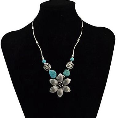 Žene Tirkiz Ogrlice s privjeskom Retro Cvijet dame Vintage Legura Pink 43+5 cm Ogrlice Jewelry 1pc Za Dnevno