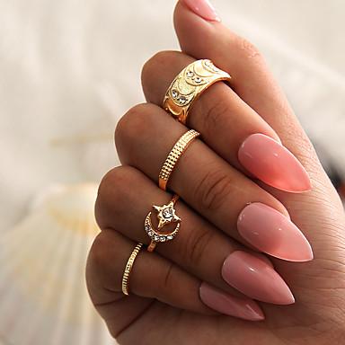 Žene Prstenasti set Prsten za više prstiju Midi prstenje Kubični Zirconia 4kom Zlato Umjetno drago kamenje Legura dame Personalized Neobično Večer stranka Noć se i posebna prigoda Jewelry Retro