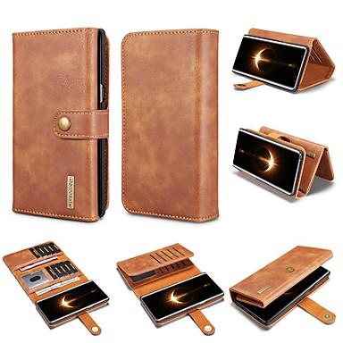 Недорогие Чехлы и кейсы для Galaxy Note-Кейс для Назначение SSamsung Galaxy Note 9 / Note 8 Кошелек / Бумажник для карт / Защита от удара Чехол Однотонный Твердый Настоящая кожа