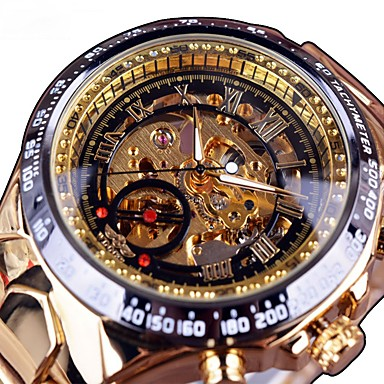 رخيصةأون ساعات الرجال-رجالي ساعة الهيكل ووتش الميكانيكية كوارتز ستانلس ستيل أسود / ذهبي نقش جوفاء طرد كبير مماثل كاجوال موضة - ذهبي-أسود أسود / فضي أسود / ذهبي روزي