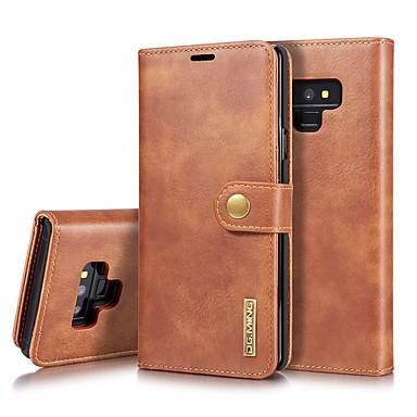 Недорогие Чехлы и кейсы для Galaxy Note-Кейс для Назначение SSamsung Galaxy Note 9 / Note 8 Бумажник для карт / Защита от удара / со стендом Чехол Однотонный Твердый Настоящая кожа