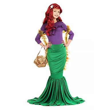 The Little Mermaid Ariel Aqua Queen Kupaći kostimi Dječji Djevojčice Mermaid and Trumpet Gown Slip Halloween Karneval Maškare Festival / Praznik Lycra Zelen Karneval kostime Sirena / 1. Nakit za kosu