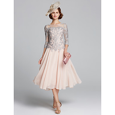 cheap Mother of the Bride Dresses-A-Line Jewel Neck Tea Length Chiffon / Lace 3/4 Length Sleeve Sexy / Plus Size Mother of the Bride Dress with Beading 2020