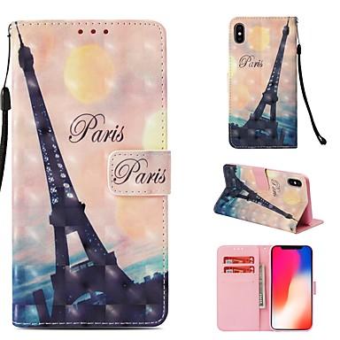 voordelige iPhone-hoesjes-hoesje Voor Apple iPhone XS Portemonnee / Kaarthouder / Flip Volledig hoesje Eiffeltoren Hard PU-nahka