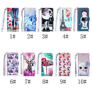 voordelige iPhone-hoesjes-hoesje Voor Apple iPhone XS / iPhone XR / iPhone XS Max Portemonnee / Kaarthouder / met standaard Volledig hoesje Kat / Hond / Flamingo Hard PU-nahka