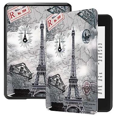 Недорогие Kindle Paperwhite-Кейс для Назначение Amazon Kindle PaperWhite 4 Защита от удара / со стендом / С узором Чехол Бабочка / Пейзаж / Эйфелева башня Твердый Кожа PU