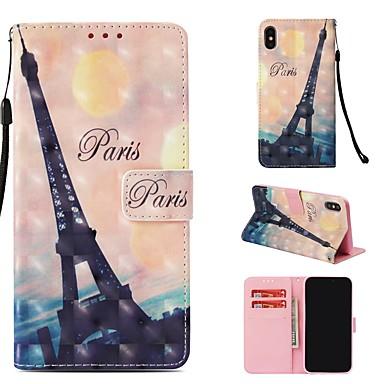 voordelige iPhone-hoesjes-hoesje Voor Apple iPhone XS Max Portemonnee / Kaarthouder / Flip Volledig hoesje Eiffeltoren Hard PU-nahka