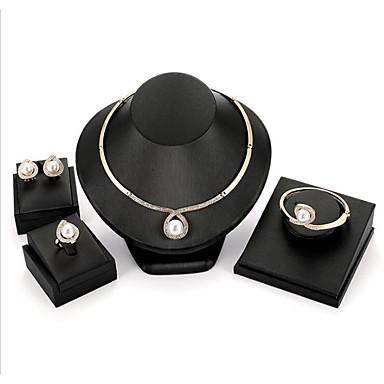 Žene Bijela Slatkovodni biser Svadbeni nakit Setovi Klasičan dame Moda Naušnice Jewelry Zlato Za Vjenčanje Party 1set
