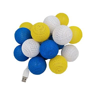 3M Žice sa svjetlima 20 LED diode Dip Led Toplo bijelo USB / Ukrasno / Vjenčanje USB napajanje 1pc