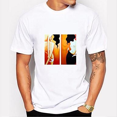 Majica s rukavima Muškarci - Osnovni Dnevno / Vikend Pamuk Grafika Okrugli izrez Print Crno-bijela Obala / Kratkih rukava