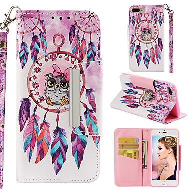 Недорогие Кейсы для iPhone 7 Plus-Кейс для Назначение Apple iPhone 7 Plus Кошелек / Бумажник для карт / Флип Кейс на заднюю панель Животное / Сова Твердый Кожа PU