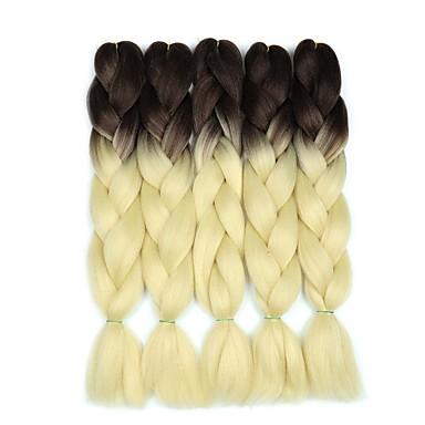 ieftine Extensii de Păr-Panglici de păr croșetate Jumbo Împletituri de cutie Blond Păr Sintetic 24 inch Păr de Împletit  5 Piese