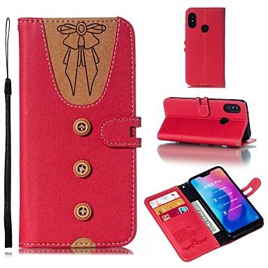 Недорогие Чехлы и кейсы для Xiaomi-Кейс для Назначение Xiaomi Xiaomi Redmi Note 5 Pro / Xiaomi Redmi Примечание 5 / Xiaomi Redmi 6 Pro Кошелек / Флип / Магнитный Чехол Однотонный Мягкий Кожа PU