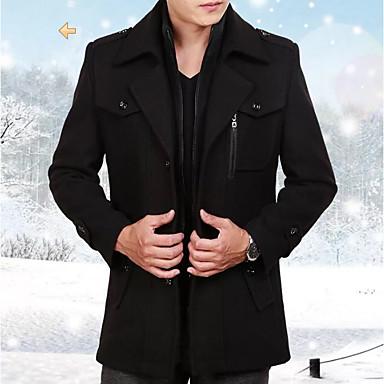 رخيصةأون جواكيت رجالي-رجالي مناسب للبس اليومي أساسي قياس كبير عادية معطف, لون سادة قبعة القميص كم طويل بوليستر بني / أسود / رمادي / نحيل