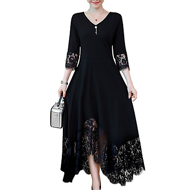 cheap Midi Dresses-Women's Plus Size Maxi Black A Line Dress - Long Sleeve Solid Colored Lace Trims Spring Fall V Neck Daily Black L XL XXL XXXL XXXXL XXXXXL XXXXXXL
