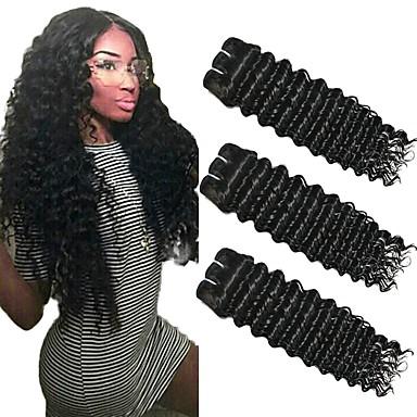 3 paketa Duboko Val Ljudska kosa Netretirana  ljudske kose Headpiece Ljudske kose plete Styling kose 8-28 inch Prirodna boja Isprepliće ljudske kose Smooth Divan Gust Proširenja ljudske kose