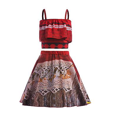 Moana Cosplay Nošnje Dječji Djevojčice Haljine Mesh Božić Halloween Karneval Festival / Praznik Pamuk Red Karneval kostime Printing